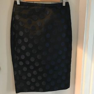 JCrew Black with Navy Polka Dot Skirt